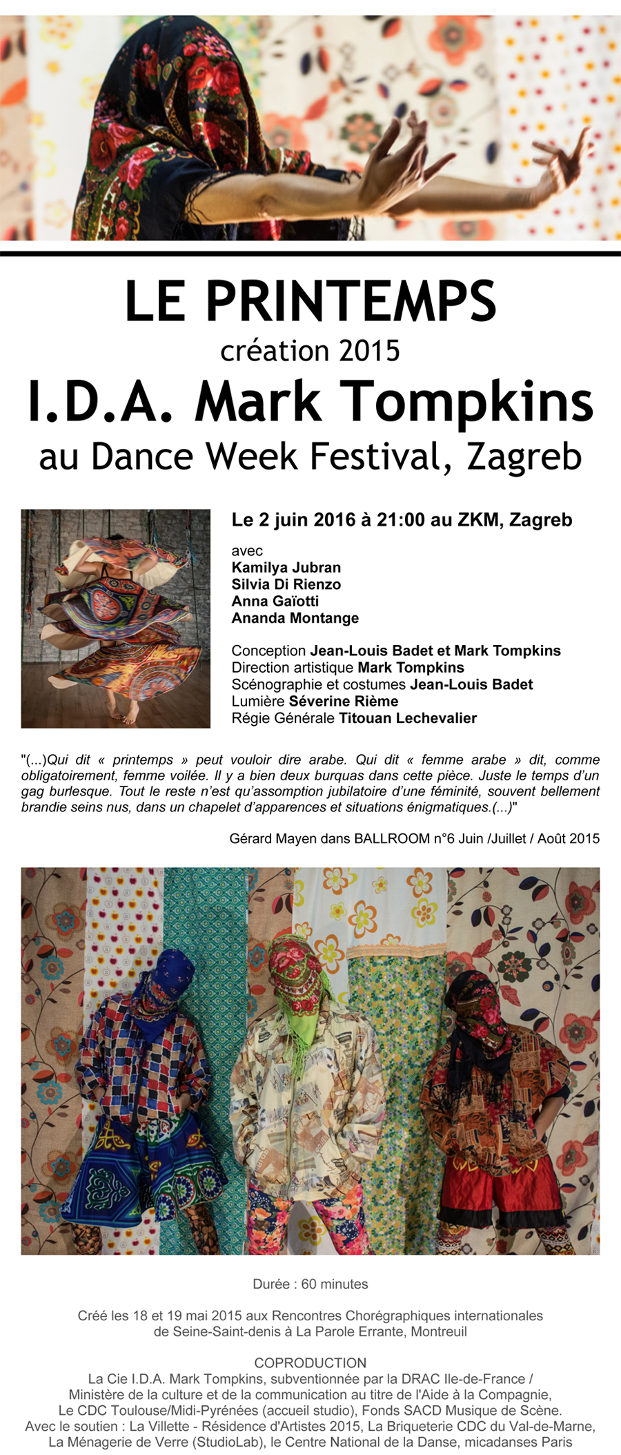 LE PRINTEMPS de Mark Tompkins, le 2 juin 2016 au DANCE WEEK FEST